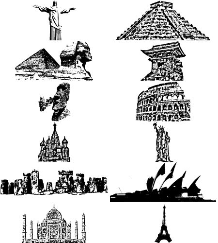12 Free Vector World Monuments