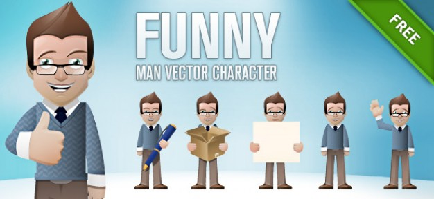 funny man vector character