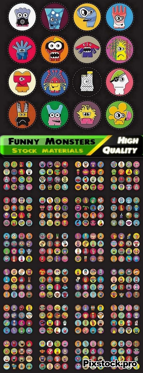 Funny Monsters in vector from stock – 25 Eps