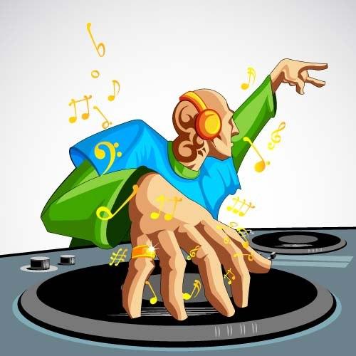 Funny music DJ vector illustration 01