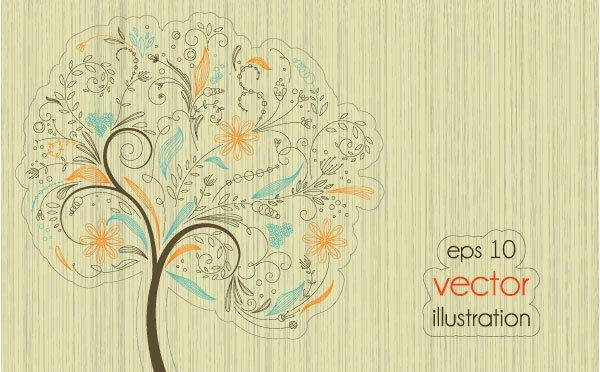 Funny Tree Illustration vector 01