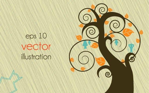 Funny Tree Illustration vector 03