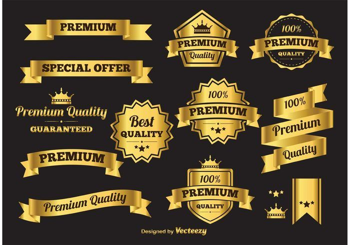 Gold Vector Banners and Labels