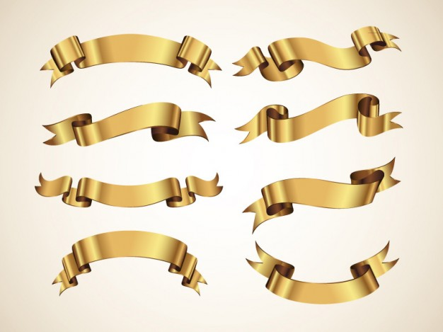 Golden Decorative Vector Ribbons Set  Vector | Free Download
