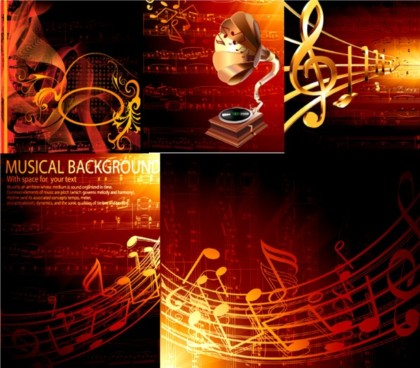 golden musical design elements vector
