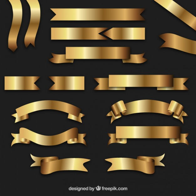Golden retro ribbons  Vector | Free Download