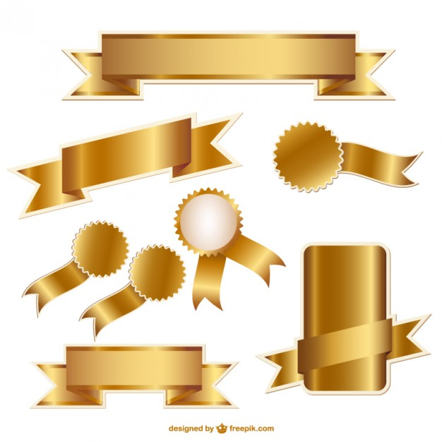 Golden ribbons and badges vector graphics  Vector | Free Download