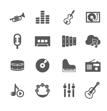 Gray music icons vector material
