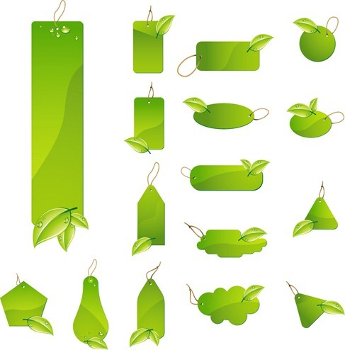 Green Leaf Tag Labels free Vecto