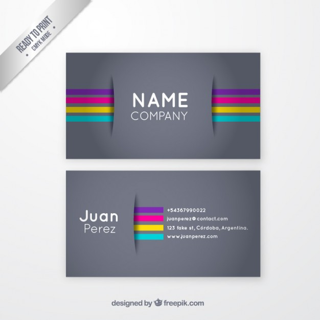 Grey business card with colorful stripes  Vector | Free Download