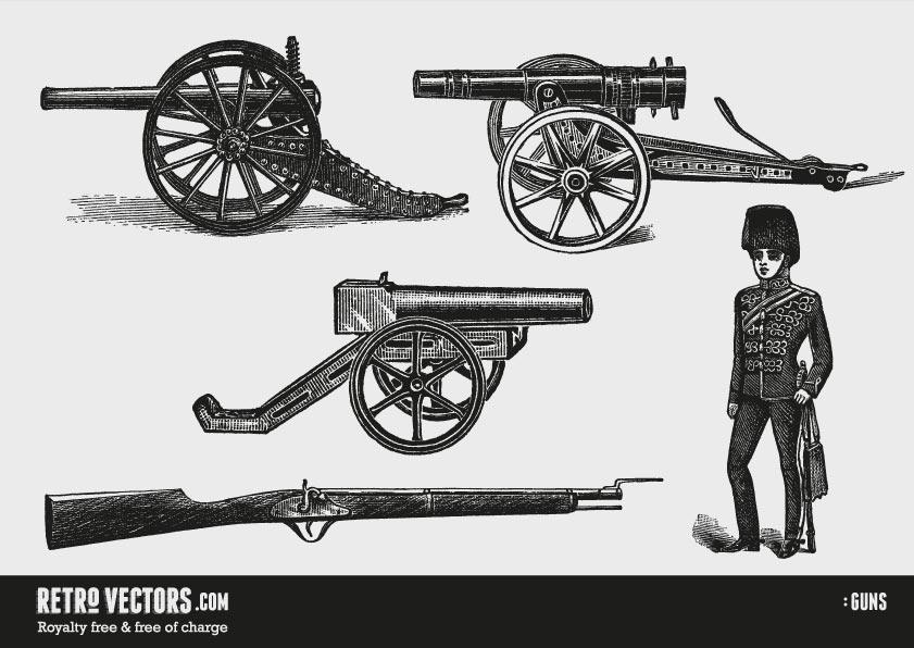 Guns | Free Retro Vectors