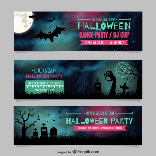 Halloween dance party banner templates Vector | Free Download