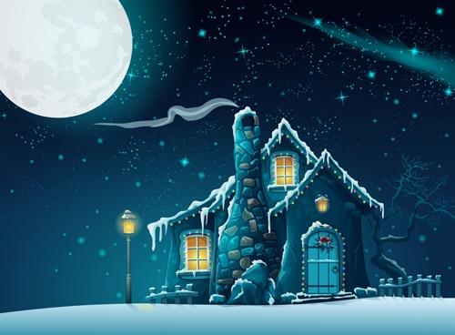 Halloween haunted house with moon cartoon vector