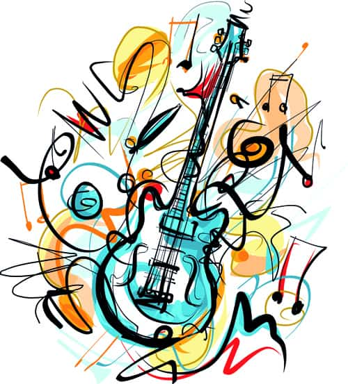 Hand drawn colored musical instruments vector 06