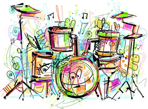Hand drawn colored musical instruments vector 05