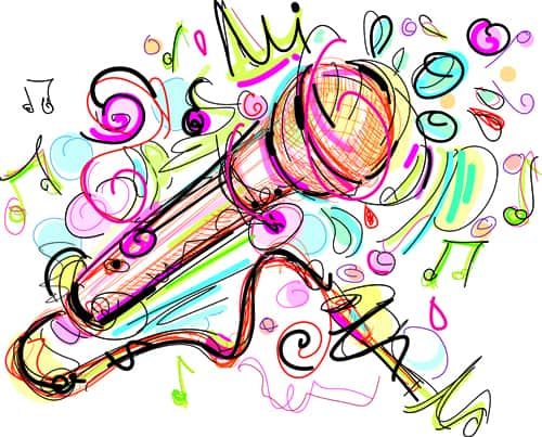 Hand drawn colored musical instruments vector 04