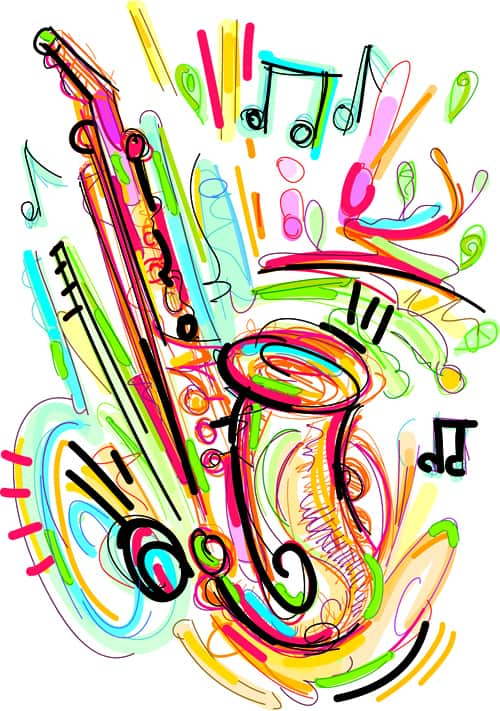 Hand drawn colored musical instruments vector 03