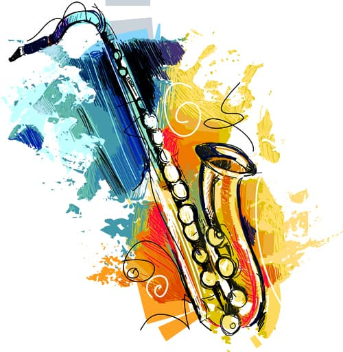 Hand drawn colored musical instruments vector 02