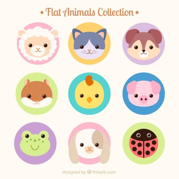Hand drawn lovely animal avatars