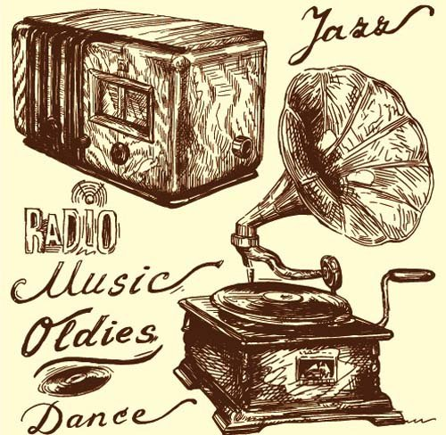 Hand drawn Vintage Musical instruments vector 04