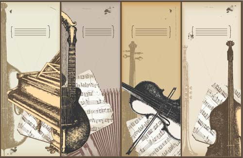 Hand drawn Vintage Musical instruments vector 01