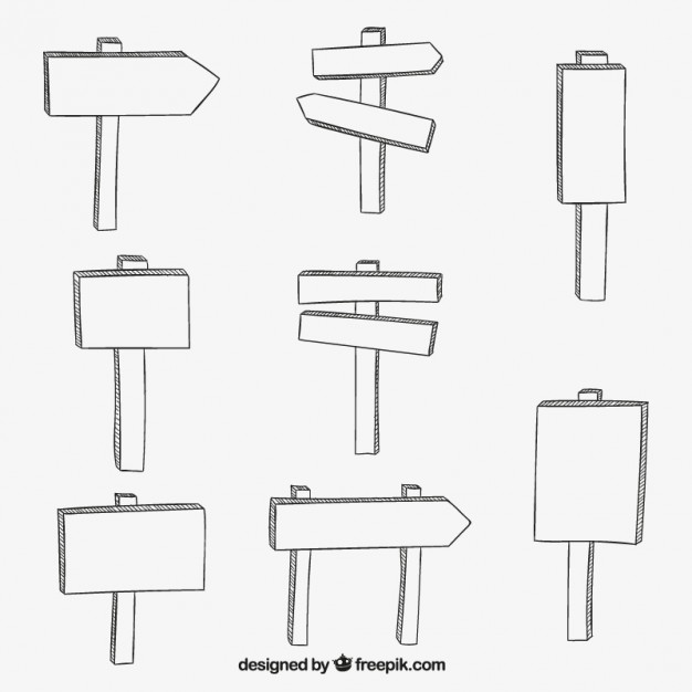 Hand drawn wooden signs  Vector | Free Download