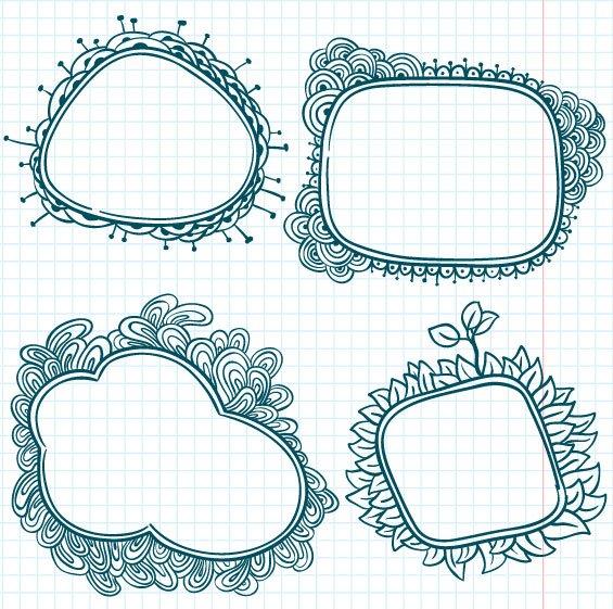 Hand painted cartoon Frames & Borders vector 03