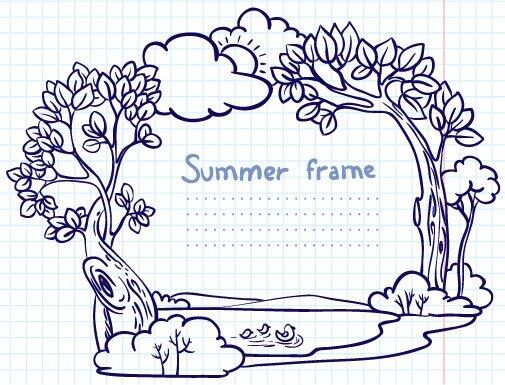 Hand painted cartoon Frames & Borders vector 02