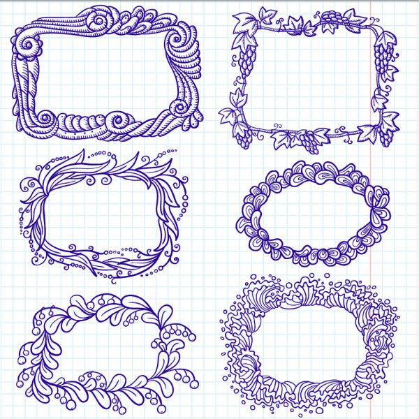 Hand painted cartoon Frames & Borders vector 01