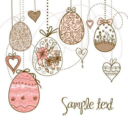 Hand painted Easter Pattern free vector 03