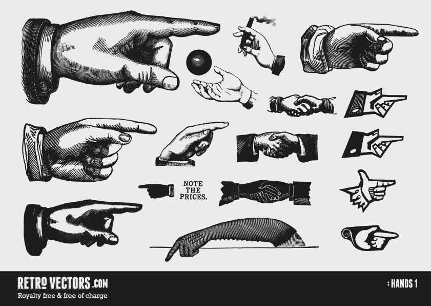 Hands 1 | Free Retro Vectors