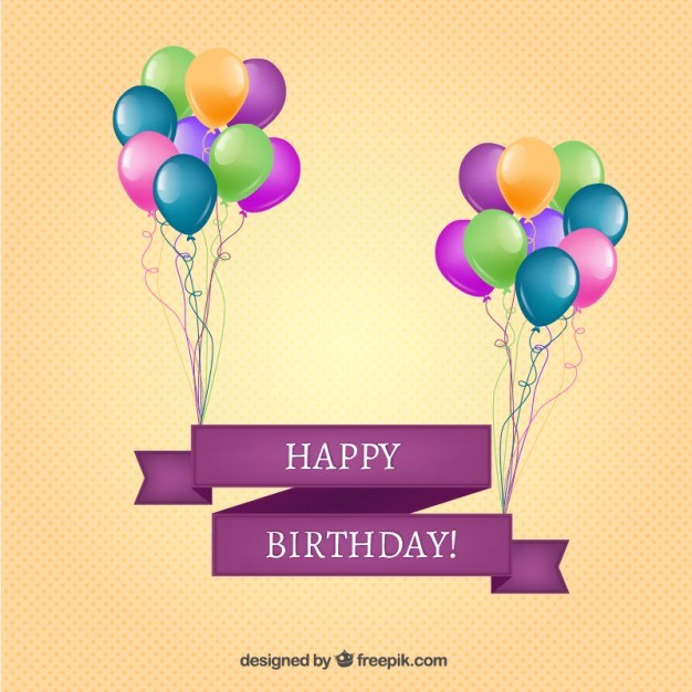 Happy birthday banner with balloons Vector | Free Download