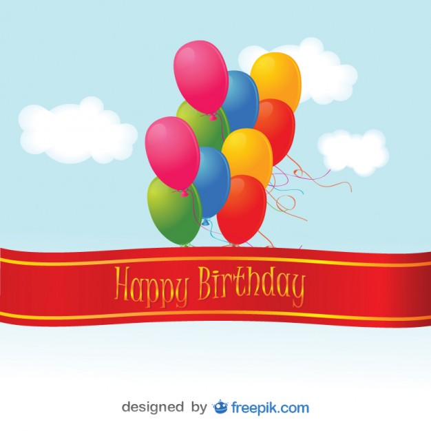 Happy Birthday Colorful Balloons Card