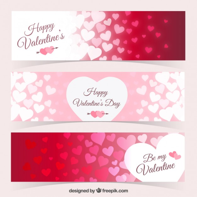 Hearts banners pack for valentine day