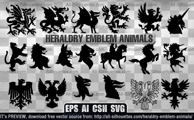Heraldry emblem animals