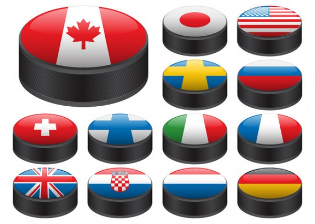 Hockey pucks with flags