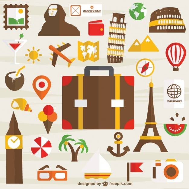 Holiday travel set of icons free for download Vector | Free Download