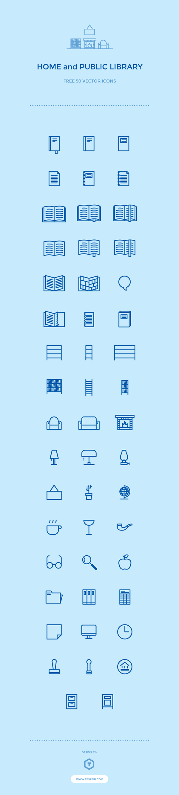 50 Home and Library Icons | GraphicBurger