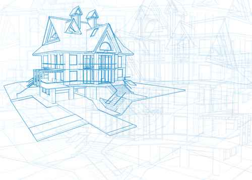 House architecture blueprint vector set 11