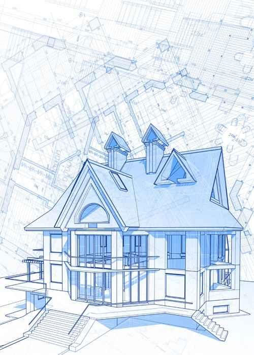 House architecture blueprint vector set 09