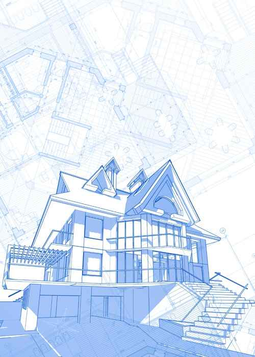 House architecture blueprint vector set 07