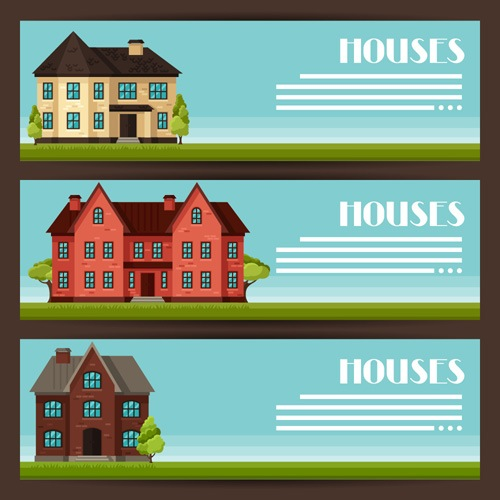 House flat banner vector material 02