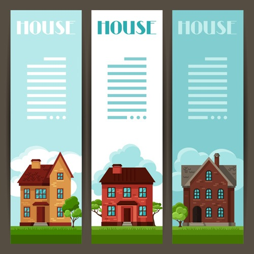 House flat banner vector material 01