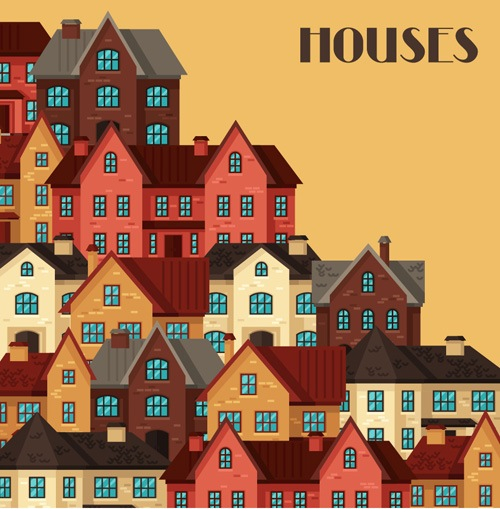 House flat style vector background 07