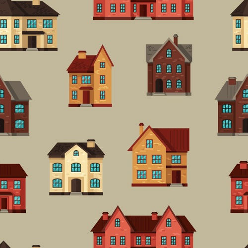 House flat style vector background 06