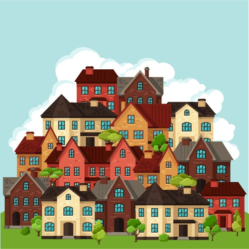 House flat style vector background 05