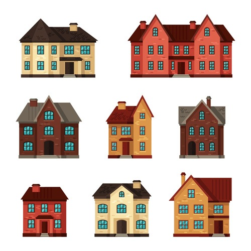 House flat style vector background 04