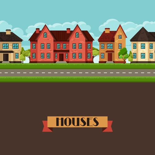 House flat style vector background 03