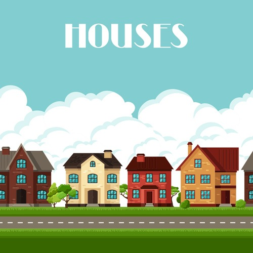 House flat style vector background 02