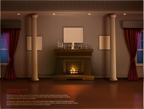 House interior corner background vectors set 21